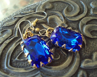 Cobalt  blue sapphire rhinestone crown setting hypoallergenic earrings Old Hollywood Glamour