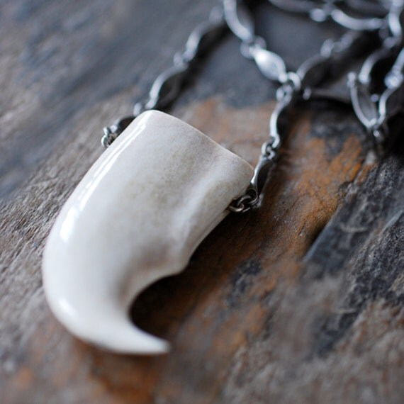 Fossil Moose Antler Claw Pendant