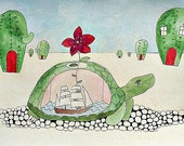 The Turtle Wanders Through The Desert While The Sea Rocks Around Inside Him
