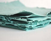 Reserved for Sage Leaf - Recycled Handmade  Paper - Peacock Teal Pack of 10 Sheets - READY TO SHIP