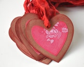 Heart Tags, Set of 10 Large Pink, Red and Brown Kraft Hearts