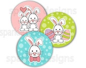 Easter bunnies no. 402 - 1 inch round - digital file instant download
