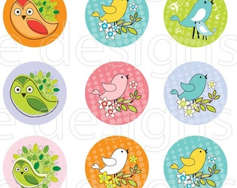 Birds & owls- they fly - 1 inch round - digital file - instant download no. 401