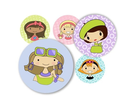 Girly girls - 1 inch round - digital file - instant download-  no. 406