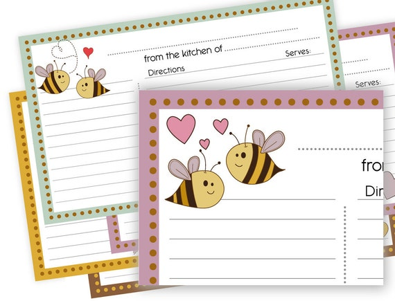 Bumble Bee love 3X5 Printable Recipe Cards lined  no. 826 instant download