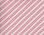 1/2 yard light weight COTTON  red and white stripe fabric