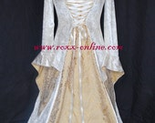 Ivory velvet & gold jacquard medieval dress with corset style lacing
