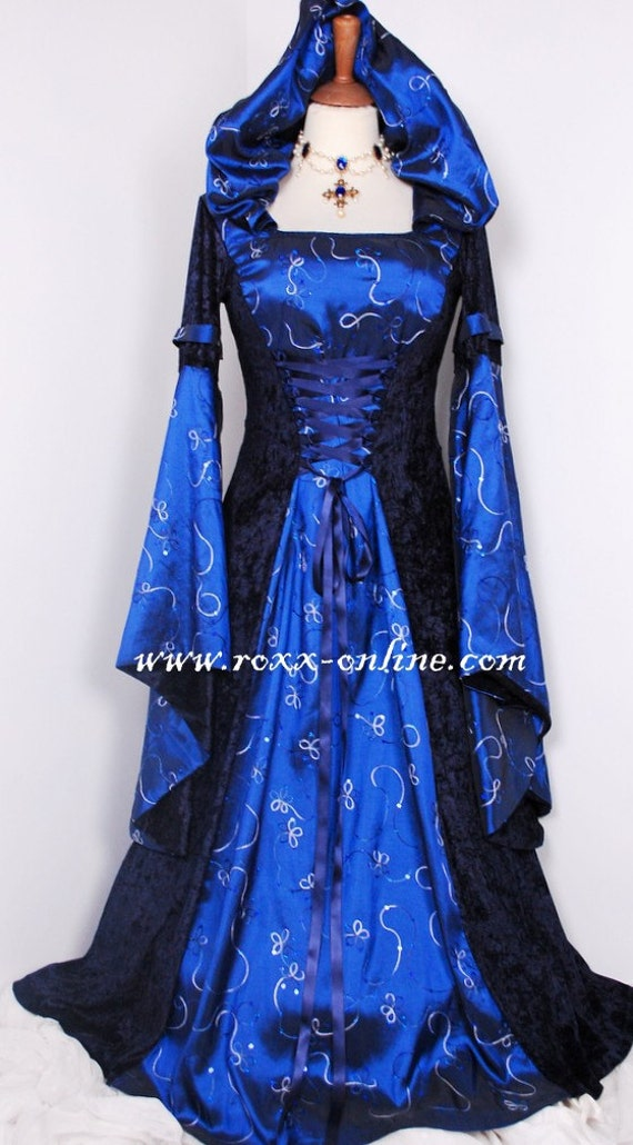 Items Similar To Midnight Blue Velvet And Sequin Taffeta Hooded Medieval Dress With Draped