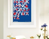 Best of British A3 Print (Red on Blue & White)