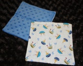 Boats & Anchors...soft minky and flannel washcloths
