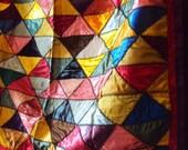 Antique Crazy Quilt in Satin Silk Jewel Tone Colors Beautiful