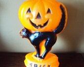 Vintage Halloween Cat and Pumpkin Blow Mold Light
