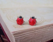 Vintage Earrings Painted Enamel Ladybugs