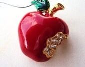 RESERVED....Vintage Brooch Red Enameled Apple with Rhinestones
