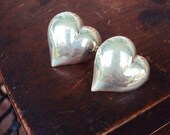 Vintage Sterling Silver Earrings Puffy Heart Studs