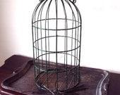 SALE Vintage Metal Bird Cage in Primitive Green