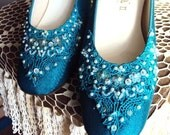 RESERVED..Vintage 50s Sequined and Beaded Shoes with Lace Applique Dyeables