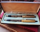 Vintage Arpege Chanel  5 Perfume Writting Pens with Case 14 Kt. Gold