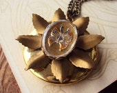 Vintage Locket Necklace Metal Flower Repurposed with Butterfly Intaglio glass