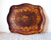 RESERVED..Vintage Florentine wood Tray Handpainted Earthtones