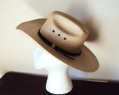SALE Vintage 50s Cowboy Hat with Leather Strap