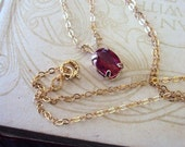 RESERVED.....Vintage Ruby Pendant Necklace with Gold Plate Chain