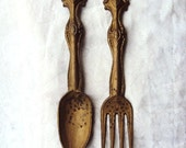 Large Fork and Spoon Wall Hanging Cast Pot Metal Painted Antique Gold