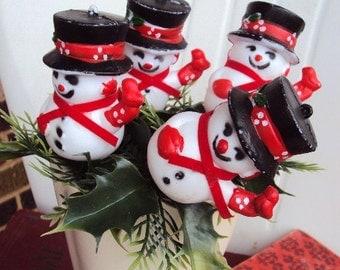Vintage Christmas Snowman Picks with Greenery