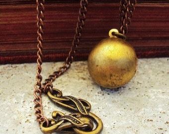Altered Art Necklace Vintage Locket Brass and Copper