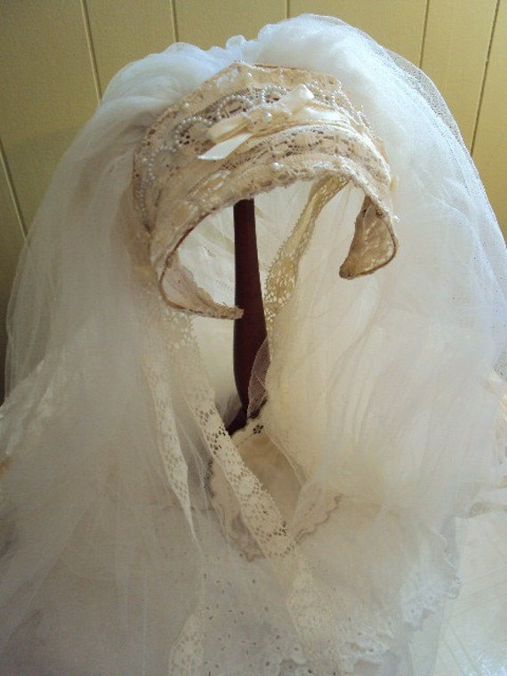 Vintage Wedding Veil Headpiece With Lace By