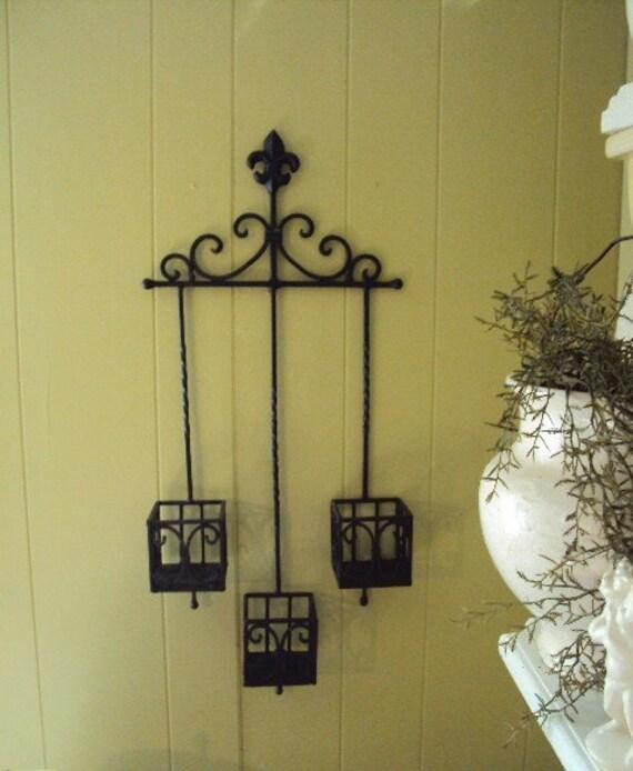 Vintage Wrought Iron Candle Holder Wall Hanging Fleur De Lis