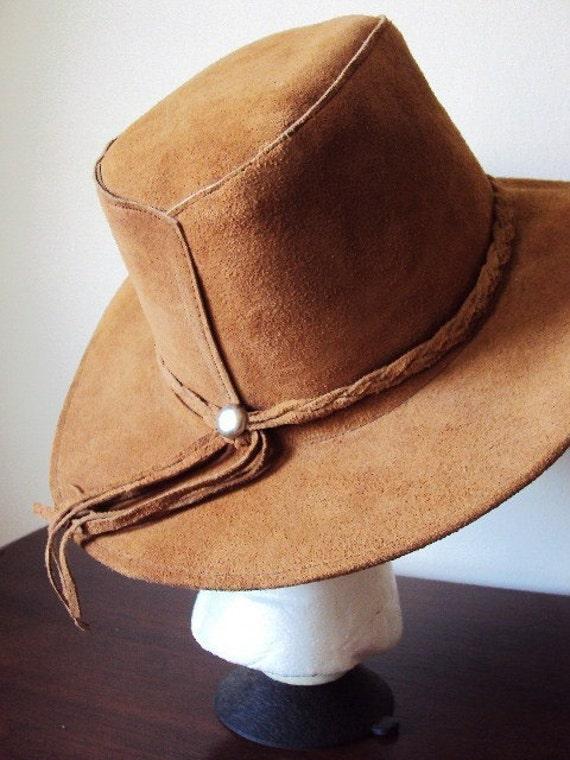 Vintage Cowboy Hat Genuine Leather By Primitivepincushion On Etsy