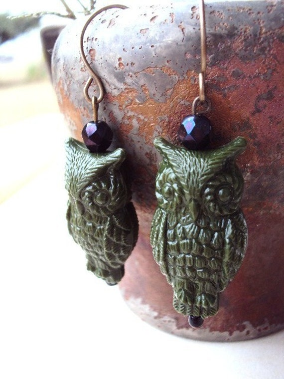 Vintage Style Owl Earrrings with Antique Findings