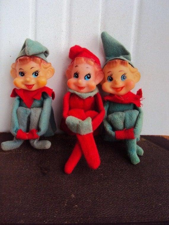 Vintage 40s Christmas Elves Elf Shelf By Primitivepincushion