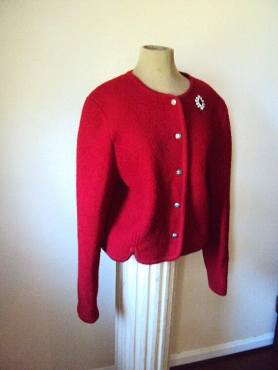 Vintage Wool Cardigan Sweater in Deep Red