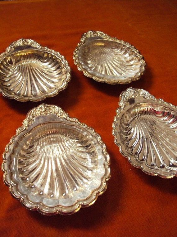 Vintage Silver Plate Shell Trays Footed and Decorative