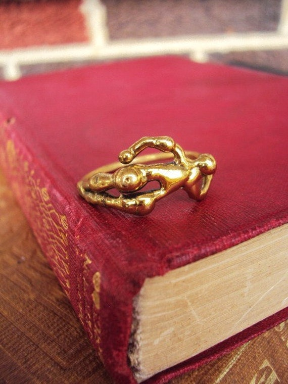 Unique Antique Ring Arts and Crafts Solid Brass figure