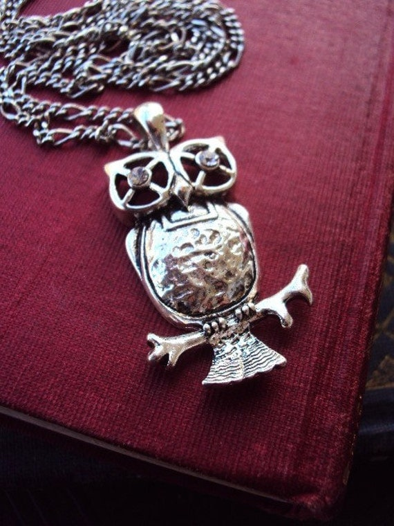 Antique Silver Owl Necklace Long Chain and Rhinestone Eyes
