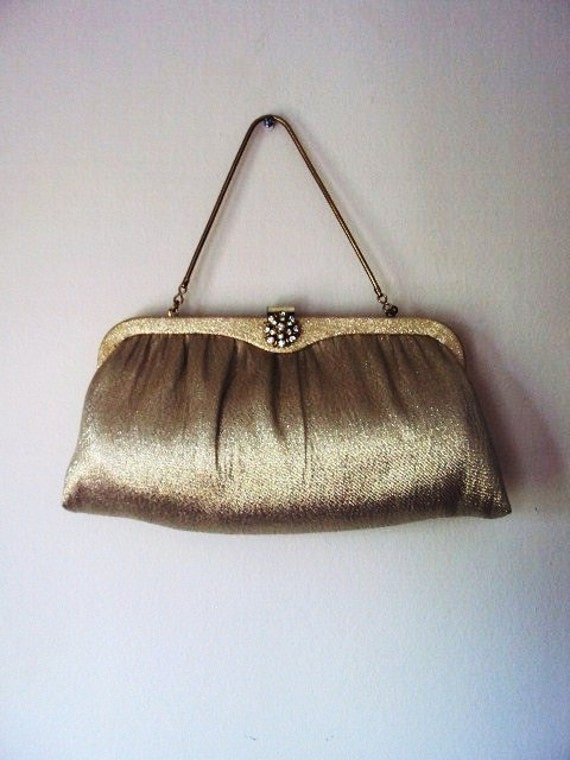 Vintage 50s Purse Rhinestone Setting Clasp and Metallic Gold Ande'