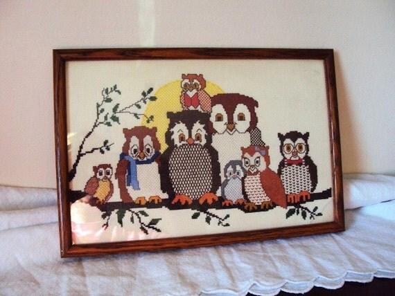 Vintage Owl Cross Stitch Picture ... Owl Family Portrait