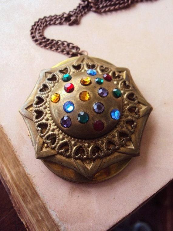 Vintage Locket Necklace Embellished Art Copper and Brass