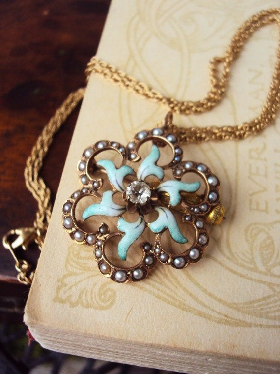 Antique Gold Filled Necklace Brooch Pendant Enameled and Seed Pearls