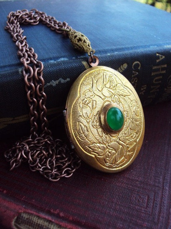 Vintage large Locket Necklace with Jade Stone Engraved Brass and Copper