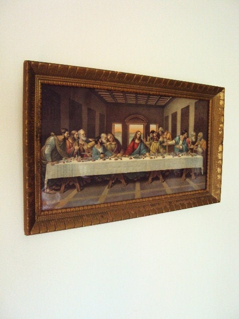 Vintage Lithograph Lords Supper Picture With Gold Wood Frame