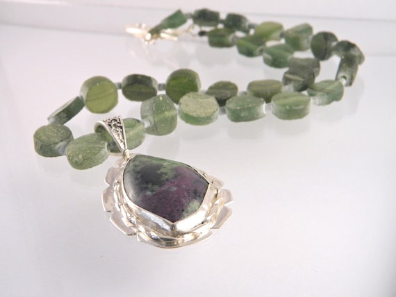 SALE - Ruby Zoisite necklace,gemstone necklace, sterling silver necklace, Roman glass beads, statement necklace, handcrafted, OOAK necklace