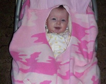Pink Camouflage Fleece Baby Car Seat Cover