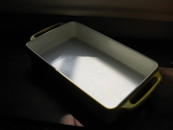 RESERVED FOR ANGIE Coulter Small Lemon Yellow Enameled Cast Iron Roasting Pan