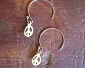 Gold Hoop Gold Peace Sign EarringsGive Peace A Chance Earrings