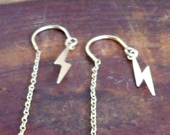 David Bowie Gold Lightning Bolt U Threader Earrings aka The Lady Stardust