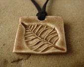 Beautiful Brown Leaf Square Pendant
